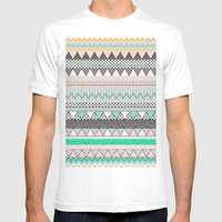 CHEVRON MOTIF Mens Fitted Tee White SMALL
