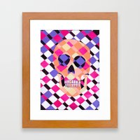 skulladelic pink plaid Framed Art Print