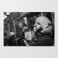 Playing the accordion in the tram for a living 2, Göteborg Sweden Canvas Print