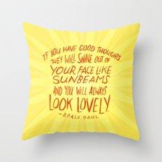 Roald Dahl on Positive Thinking Throw Pillow