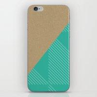 Cardboard & Aqua Stripes iPhone & iPod Skin