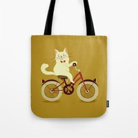 White Cat On A Bicycle Tote Bag