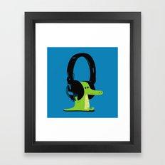 Le crocodile mélomane (blue) Framed Art Print