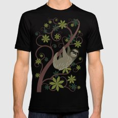Sloth in a Tree SMALL Mens Fitted Tee Black