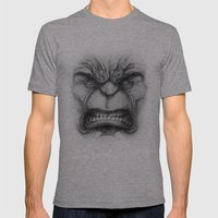 Hulk face Mens Fitted Tee Athletic Grey SMALL