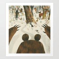 Along Came A Bear Art Print