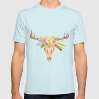 Deer Skull and Flowers Mens Fitted Tee Light Blue SMALL