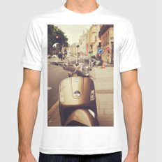 Vespa in Paris White Mens Fitted Tee SMALL