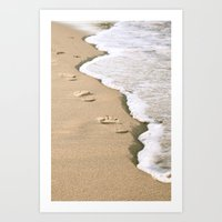 Footprints on the Beach Art Print