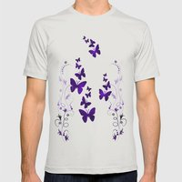 purple butterfly Mens Fitted Tee Silver SMALL