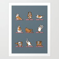 English Bulldog Yoga Art Print