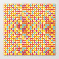 Funny Polkas-Yellow and orange Canvas Print