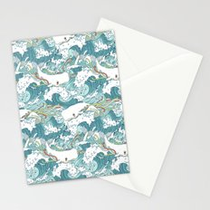 Whales and waves pattern Stationery Cards