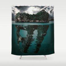 Mystere island Shower Curtain