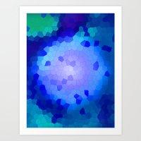 Aqua Stained Art Print