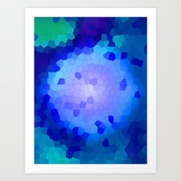Aqua Stained Art Print