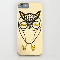 iPhone & iPod Case featuring satisfied  owl by Andra Vlasceanu