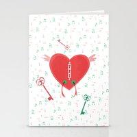 Keys Of Heart Stationery Cards