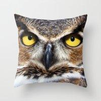 Great Horned Owl Face Throw Pillow