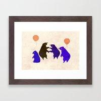 A sleepy bear party Framed Art Print