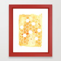 Golden Honeycomb Framed Art Print