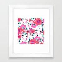 Janis Poppy Ikat Floral  Framed Art Print