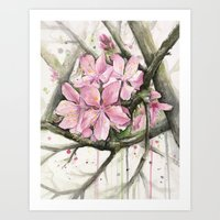 cherry blossom Art Prints featuring Cherry Blossom by Olechka