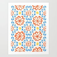 Orange Flower Pattern Art Print