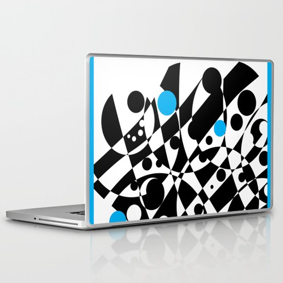 Black and Blue and White All Under Laptop & iPad Skin