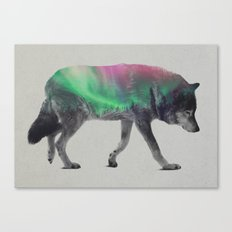 Wolf In The Aurora Borea… Canvas Print