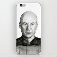 Captain Picard Watercolor Portrait iPhone & iPod Skin