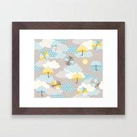 Umbrellas In The Clouds Framed Art Print