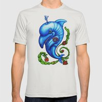 Dolphin Blue Mens Fitted Tee Silver SMALL