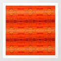Orange Aztec Pattern 2 Art Print