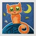 Fabric Cat Canvas Print