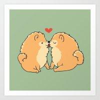 Pomeranian Kisses Art Print