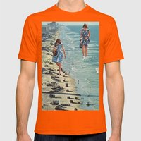 Walk on the Beach Mens Fitted Tee Orange SMALL