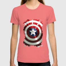 Captain Steve Rogers Shields  Womens Fitted Tee Pomegranate SMALL