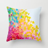 CREATION IN COLOR - Vibrant Bright Bold Colorful Abstract Painting Cheerful Fun Ocean Autumn Waves Throw Pillow