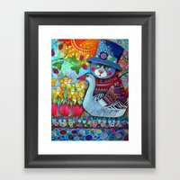 Cat with goose Framed Art Print