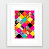 Retro squares Framed Art Print