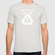 Recycle White Mens Fitted Tee Silver SMALL