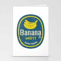 Banana Sticker On White Stationery Cards
