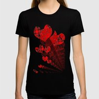 Heart - Red Womens Fitted Tee Black SMALL