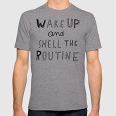 WAKE UP Mens Fitted Tee Athletic Grey SMALL