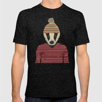 Seb The Badger  Mens Fitted Tee Tri-Black SMALL
