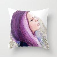 Pink hair Throw Pillow