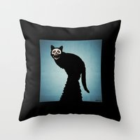 Skullcat Throw Pillow