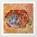 red antique town turtle abstract     Art Print