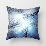 Black Trees Blue Sky Throw Pillow